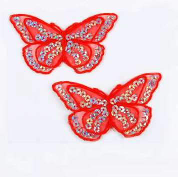 """E6322 Set of (2) Red Butterfly Sequin Embroidered Appliques 2.5"""""""
