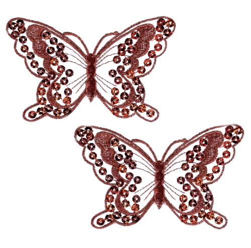 E6324  Set of Two Brown Butterfly Embroidered Sequin Appliques 4