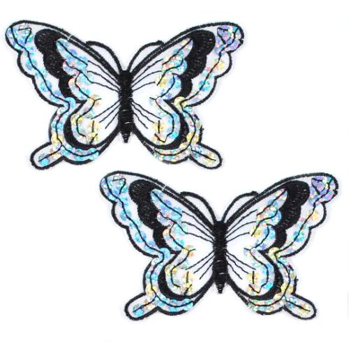 E6324  Set of Two Black Butterfly Embroidered Sequin Appliques 4\