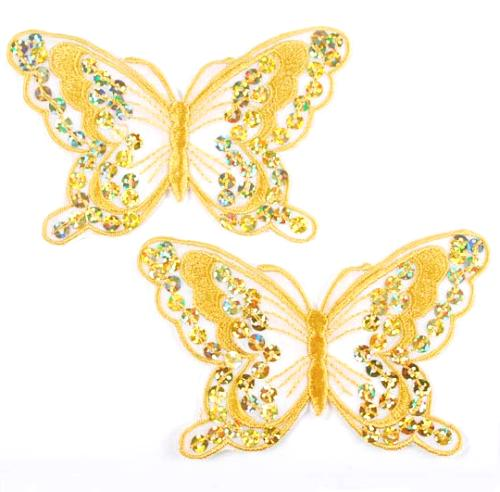 E6324  Set of Two Gold Butterfly Embroidered Sequin Appliques 4