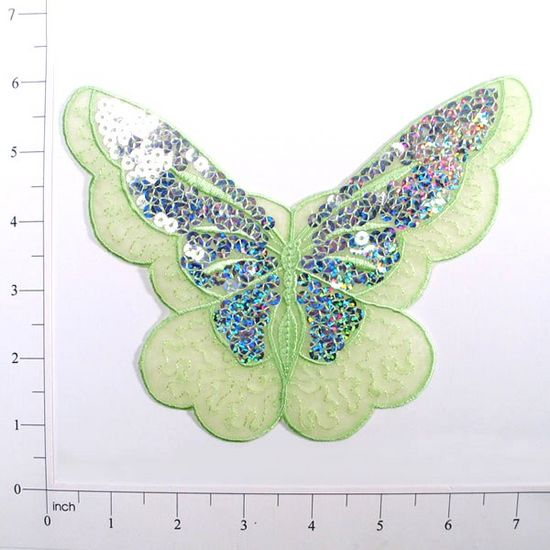 E6326 Lime Green Butterfly Embroidered Sequin Applique 6.5