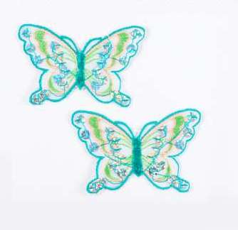"""E6354  Set of (2) Green Lime Butterfly Sequin Embroidered Appliques 2.5"""""""