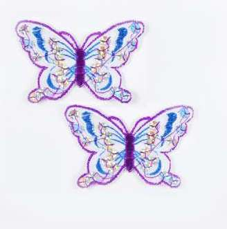 """E6354  Set of (2) Blue Purple Butterfly Sequin Embroidered Appliques 2.5"""""""