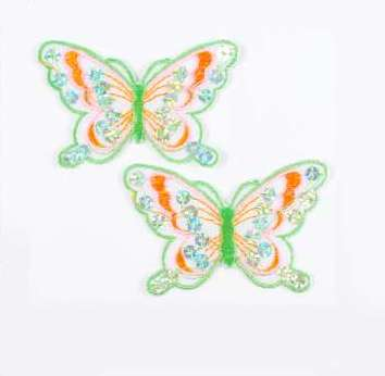 """E6354  Set of (2) Green Orange Butterfly Sequin Embroidered Appliques 2.5"""""""