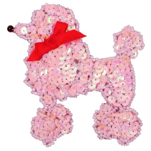 E6363  Pink AB Poodle Beaded Sequin Applique 3.75