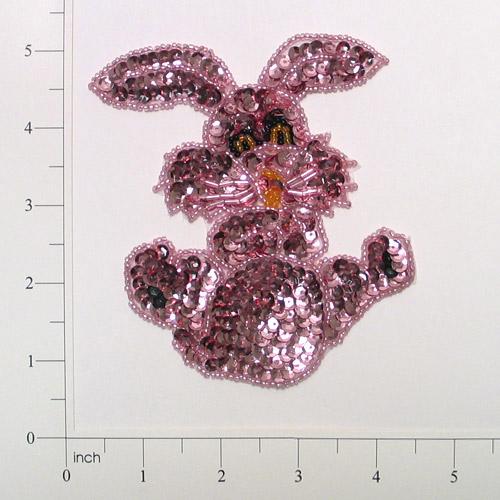 Mauve Bunny 4.75 Sequin Beaded Appliques E711