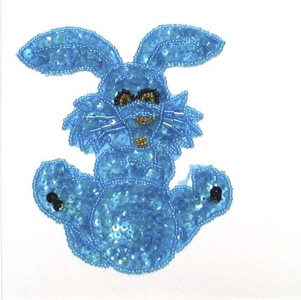 E711 Turquoise Bunny Sequin Beaded Applique 4.25\