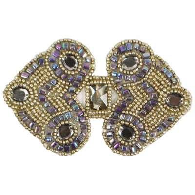 E787  Antique Silver Jewel Sequin Beaded Applique 4\