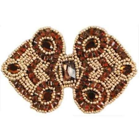 E787  Brown Gold Jewel Sequin Beaded Applique 4