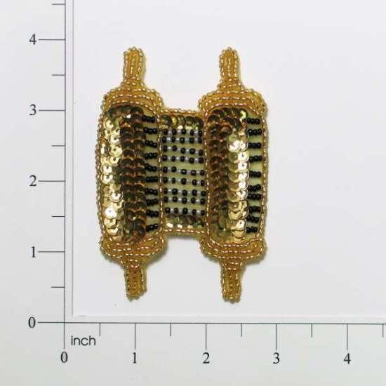 Gold Torah 3.5  Sequin Beaded Applique 0095