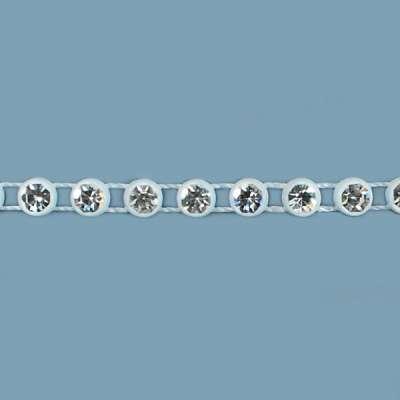 P6083  Bridal White Rhinestone Trim Pre-Cut 18