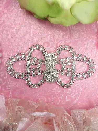TS146 Bridal Bow Silver Beaded Crystal Rhinestone Applique Embellishment 4.25