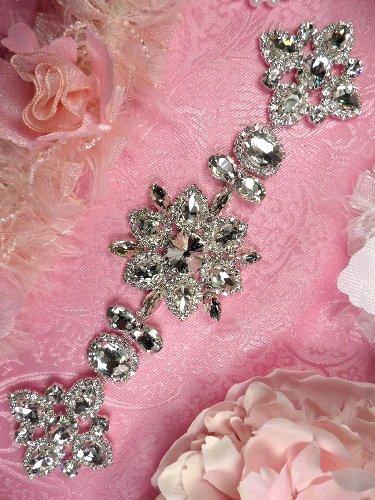 TS156 Silver Crystal Rhinestone Applique Embellishment  9.5