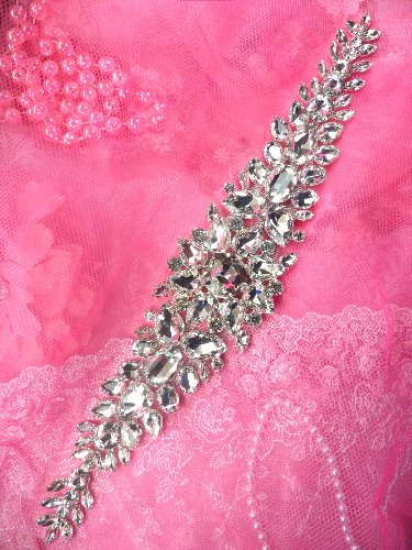 TS150 Bridal Sash Silver Beaded Glass Rhinestone Applique 17
