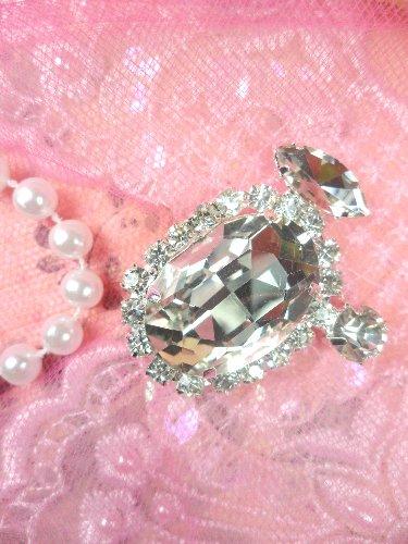STS197 Crystal Clear Rhinestone Embellishment Designer Metal Back 1.5