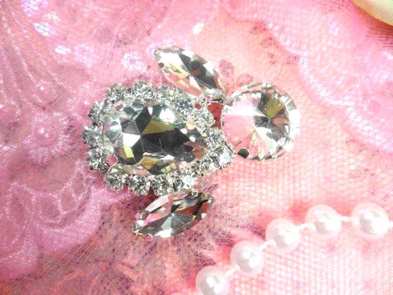 Crystal Clear Rhinestone Embellishment Designer Metal Back 1.5 (STS224-slcr)