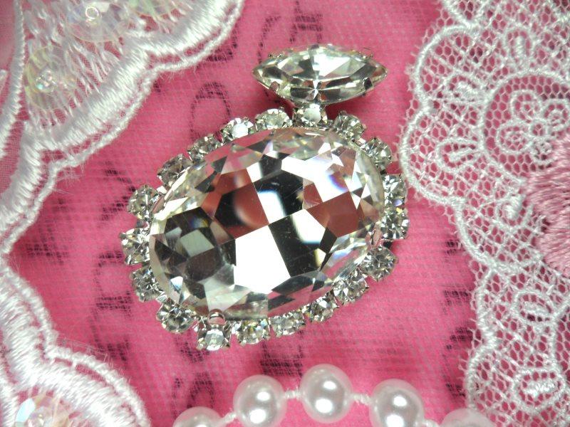 Round Silver Crystal Rhinestone Circle Applique Embellishment 1.5 (STS235-slcr)