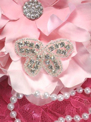 XR133 Butterfly Bow Silver Beaded Crystal Rhinestone Applique 1.75\