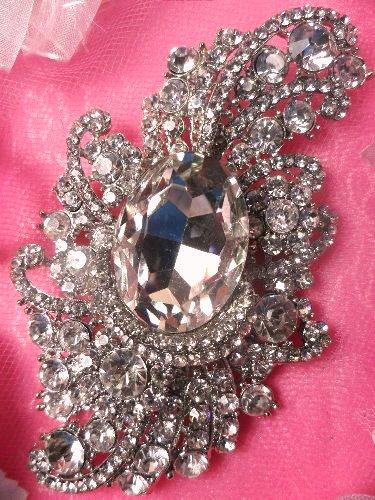 TS141 Silver Crystal Clear Rhinestone Victorian Bridal Brooch