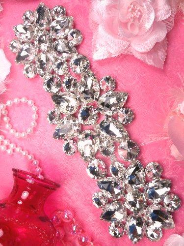 TS154 Silver Crystal Rhinestone Applique Embellishment  9.5