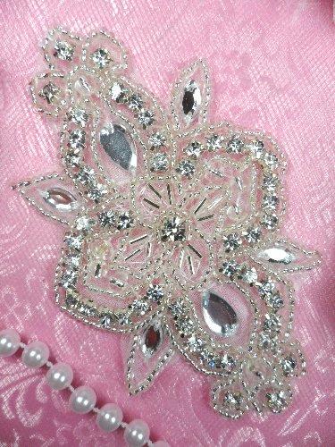 ACT/XR75/C Silver Beaded Crystal Rhinestone Applique 4\