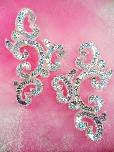 0242 Sequin Beaded Appliques Silver Holographic Mirror Pair Patch 6\