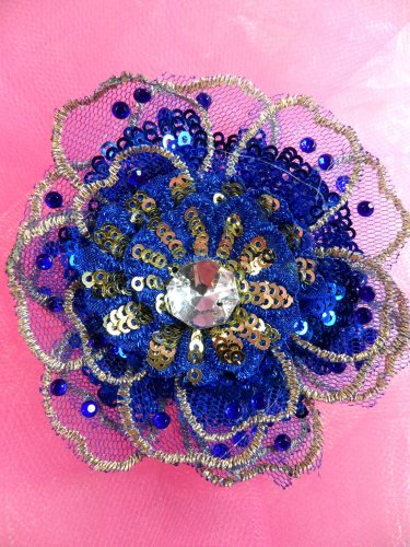 GB421 Sequin Applique Floral 3D Blue Rhinestone Embroidered Patch 4\