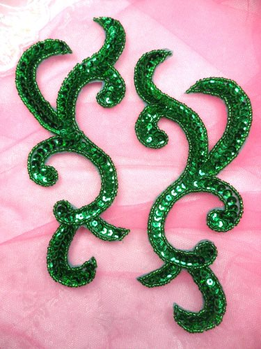 JB240 Sequin Appliques Green Beaded Scroll Designer Mirror Pair 6.75