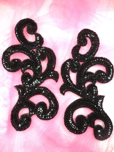 JB252 Sequin Appliques Black Beaded Scroll Mirror Pair Patch 7\