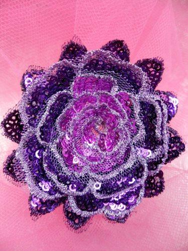 GB409 Sequin Applique Floral 3D Purple Embroidered Patch 3\