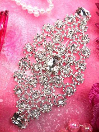 TS118  Silver Crystal Rhinestone Applique Embellishment 5.75