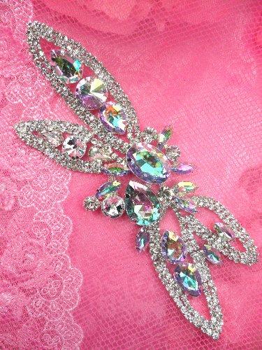 TS19 Silver Crystal Clear And Aurora Borealis Rhinestone Applique Embellishment  7