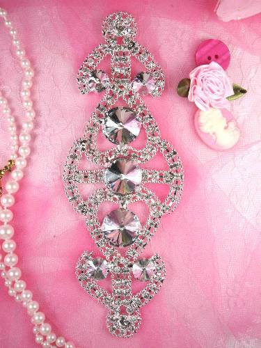 RMTS34 REDUCED Silver Crystal Clear Rhinestone Applique Embellishment 6.5