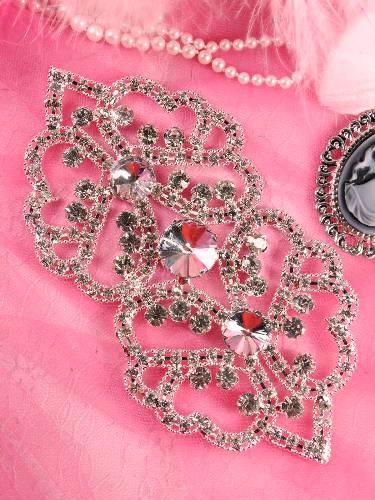 TS43 Silver Crystal Clear Rhinestone Applique Embellishment 6.5\
