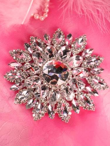 TS49 Silver Crystal Clear Rhinestone Applique Embellishment 4.25