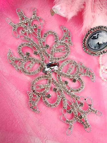 RMTS52 REDUCED Floral Silver Rhinestone Applique Embellishment 9.25