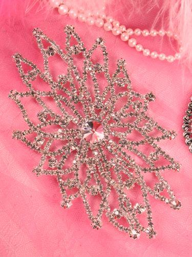 TS53 Silver Crystal Clear Rhinestone Applique Embellishment 5.5\