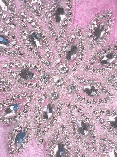 TS57 Connie Silver Beaded Crystal Rhinestone Applique 10.25\