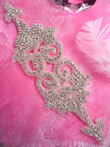 RMTS94 REDUCED Silver Beaded Crystal Rhinestone Applique 10