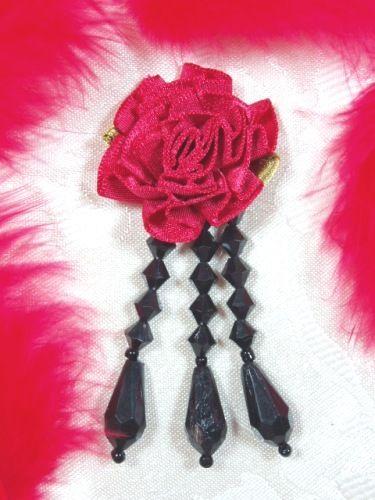 VD1  Red Black Floral Dangle Beaded Applique 3