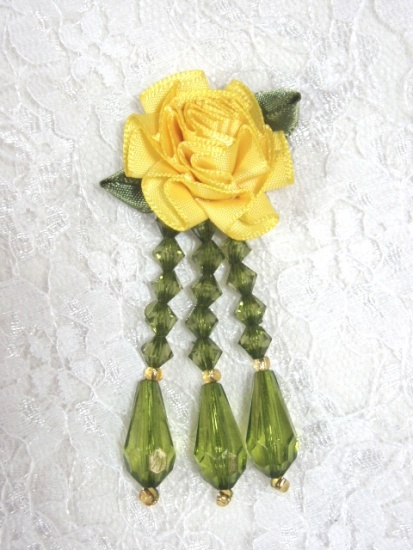 VD1  Yellow / Olive Floral Dangle Beaded Applique 2.75