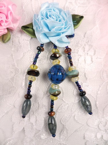 VD30 Blue Floral Dangle Beaded Applique