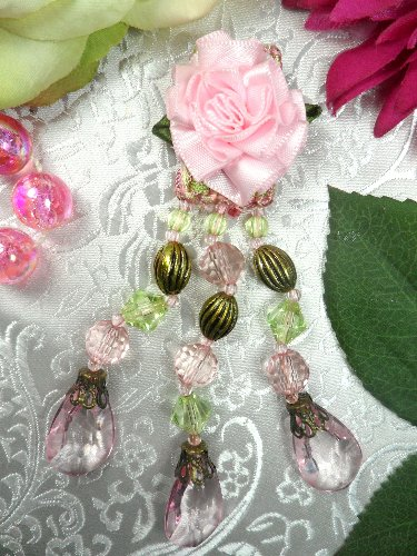 VD35A  Flower Applique Pink Dangles Antique Gold Beads 4.5\