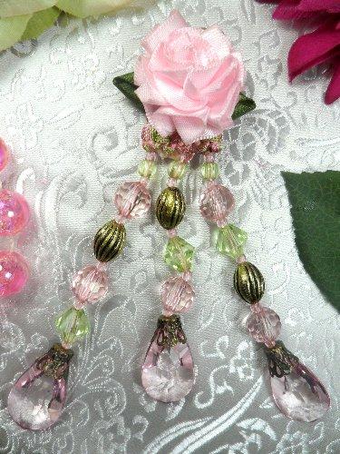 VD35B  Flower Applique Pink Dangles Antique Gold Beads 4.5\