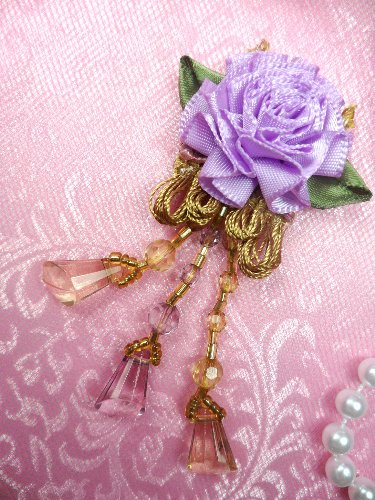 VD37 Applique Lavender Floral Slant Beaded Dangle 3.25\