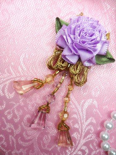 VD37 Applique Lavender Floral Slant Beaded Dangle 3.25\