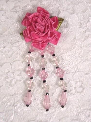 VD7  Mauve Pink Floral Dangle Beaded Applique 2.75\