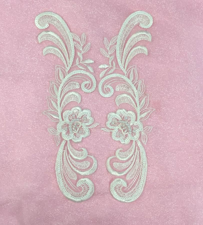 W20 White Venise Lace Mirror Pair Beaded Sequin Appliques 9