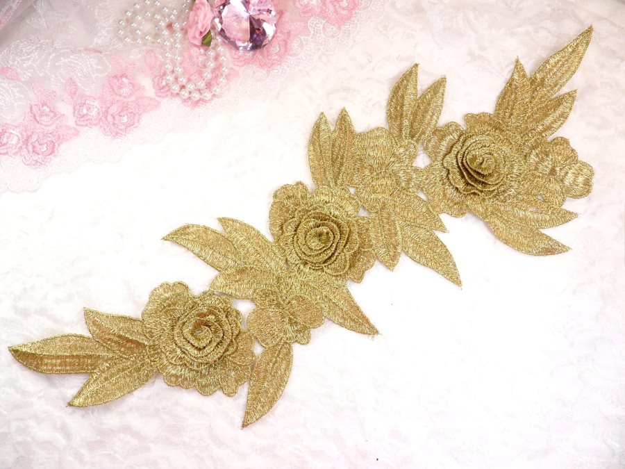 Embroidered Floral 3D Applique Gold Rose Patch Craft Motif 16.75 (W45)