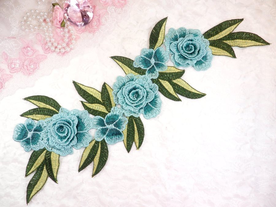 Embroidered Floral 3D Applique Teal Rose Patch Craft Motif 16.75 (W45)